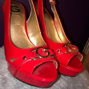 G By Guess Red Peep Toe Pumps